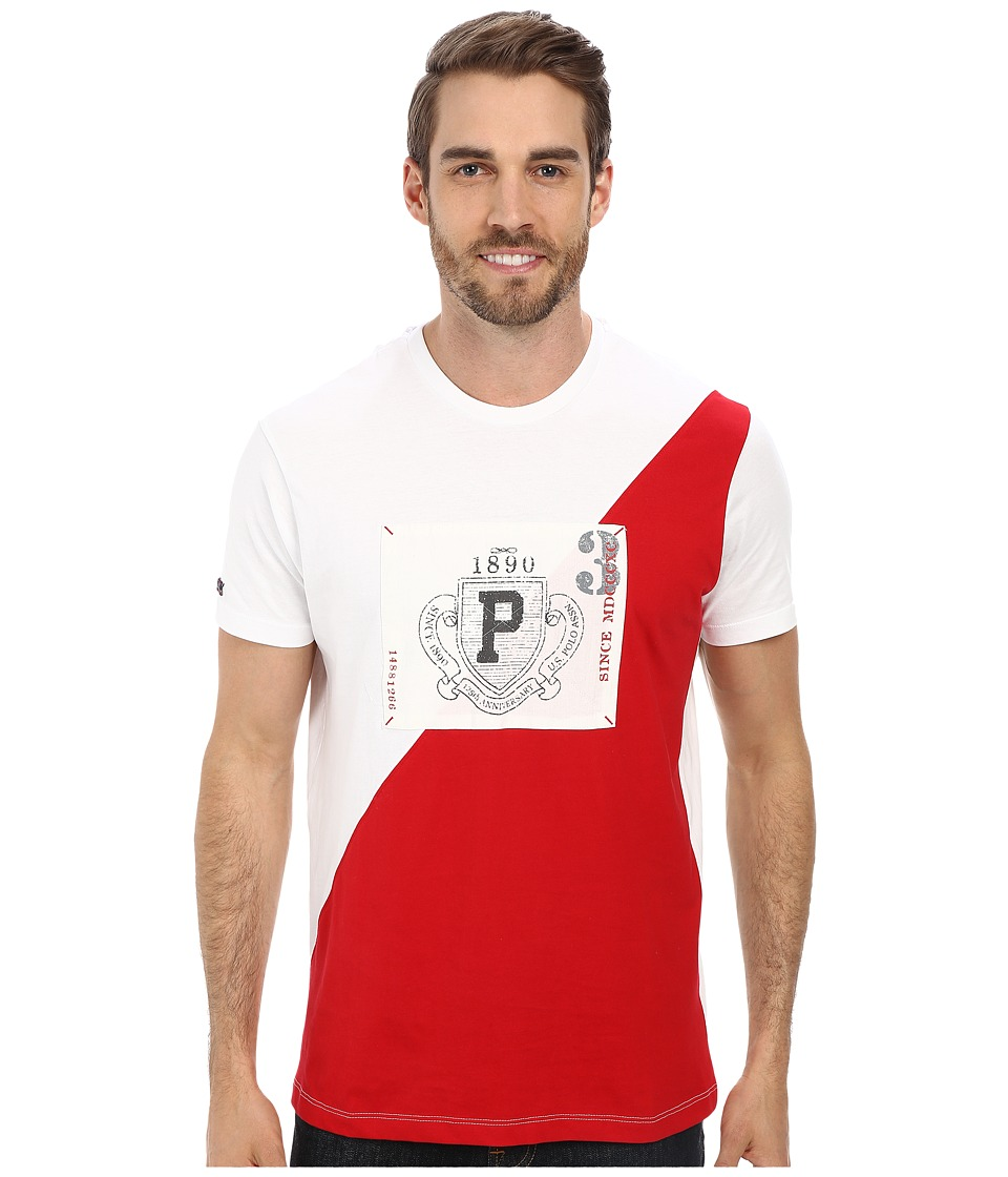 U.S. POLO ASSN. - Diagonal 125th Anniversary Color Block Crew Neck T-Shirt (Engine Red) Men's Short Sleeve Pullover