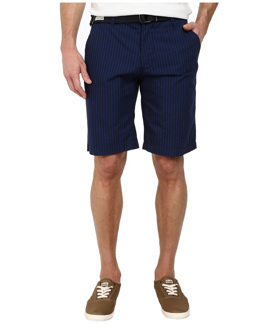 U.S. POLO ASSN. Belted Flat Front Striped Shorts (Blue) Men