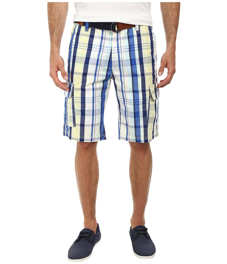 U.S. POLO ASSN. - Slim Plaid Cargo Shorts with Belt (Mellow Yellow) Men