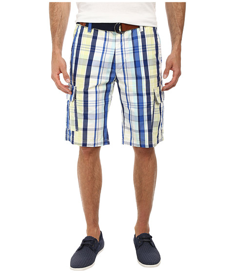 U.S. POLO ASSN. - Slim Plaid Cargo Shorts with Belt (Mellow Yellow) Men's Shorts