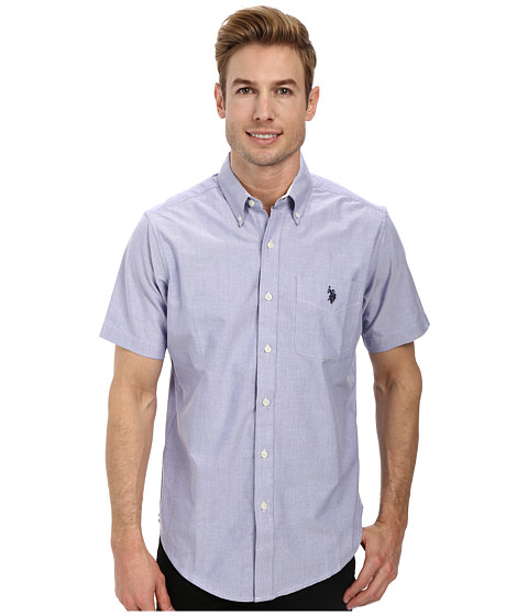 U.S. POLO ASSN. - Short Sleeve Solid Oxford Shirt (Blue Storm) Men's Short Sleeve Button Up