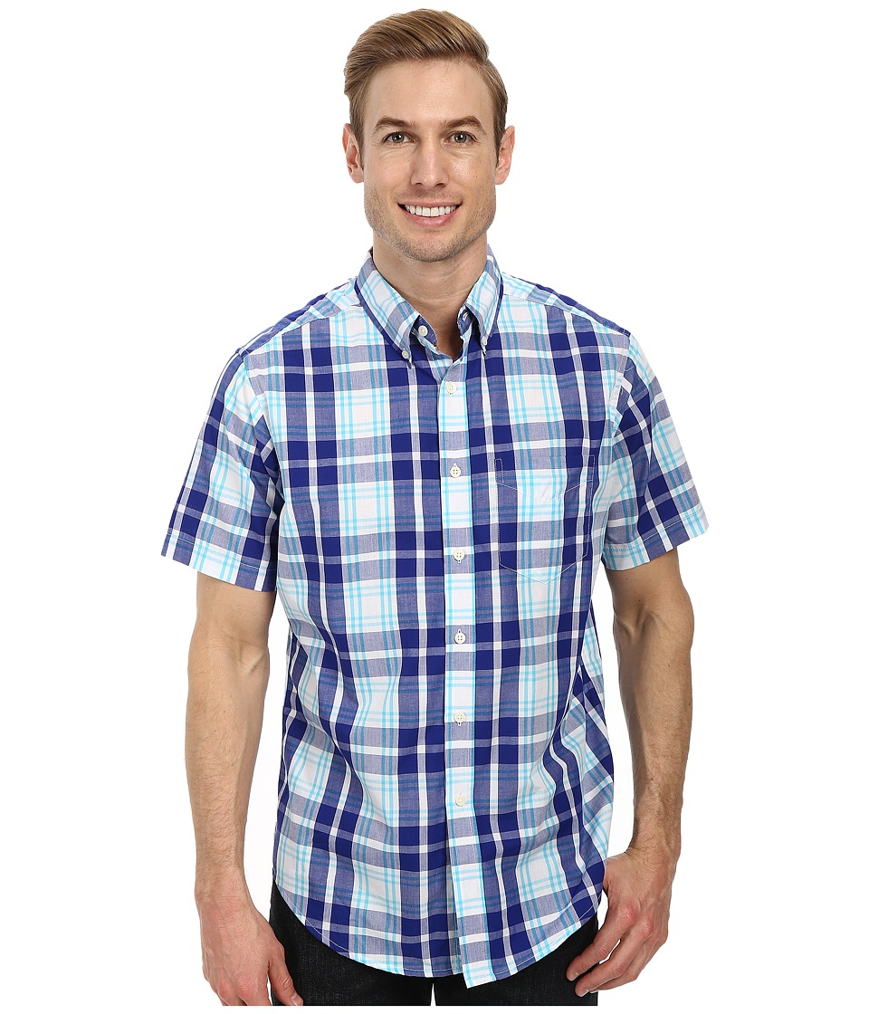 U.S. POLO ASSN. Short Sleeve Plaid Sport Shirt (International Blue) Men