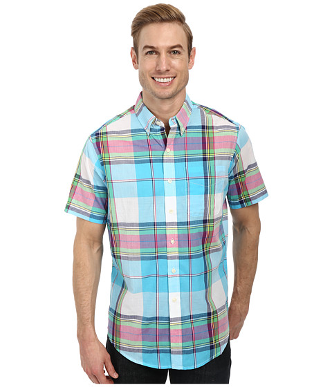 U.S. POLO ASSN. - Short Sleeve Madras Plaid Sport Shirt (Blue Sea) Men