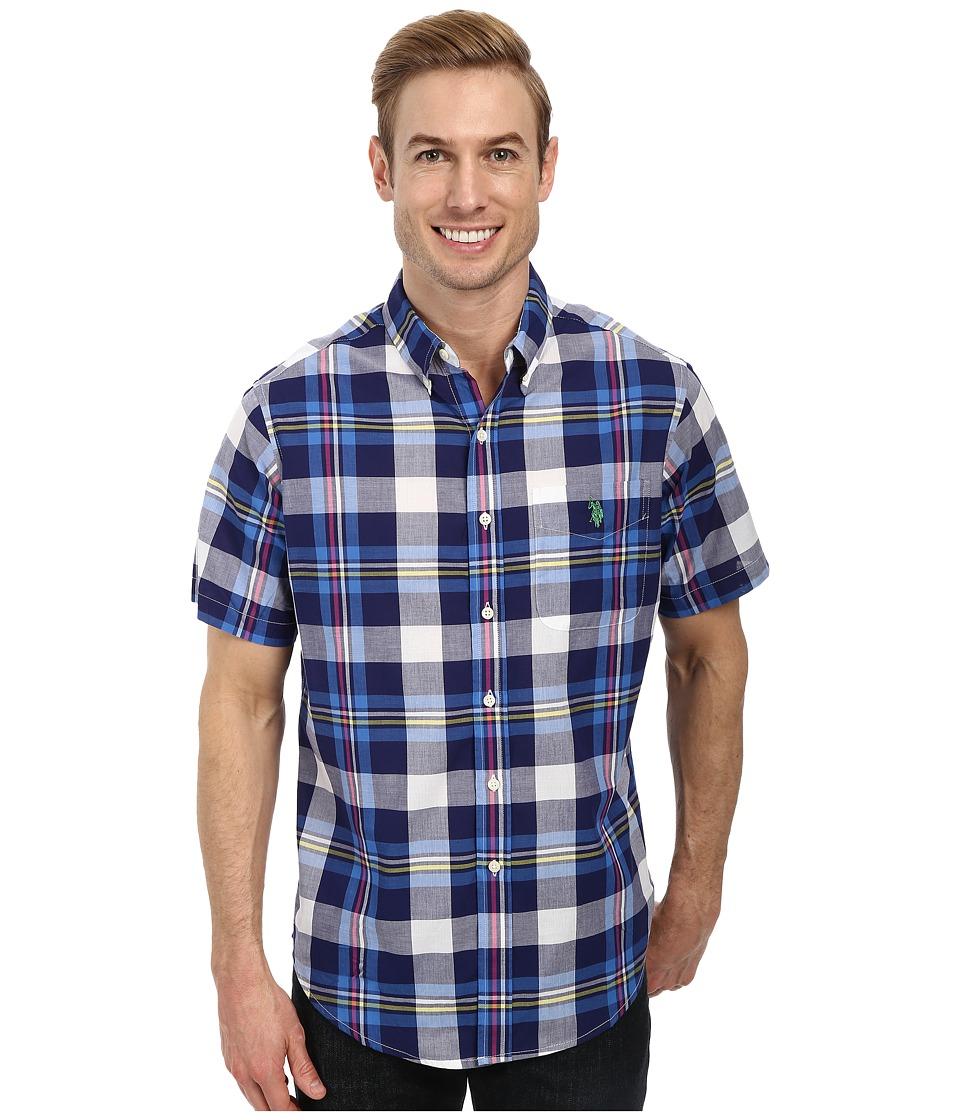U.S. POLO ASSN. - Madras Sport Shirt (Dodger Blue) Men's Short Sleeve Button Up
