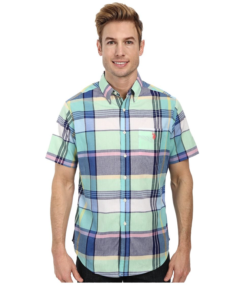 U.S. POLO ASSN. - Madras Plaid Sport Shirt (Summer Green) Men