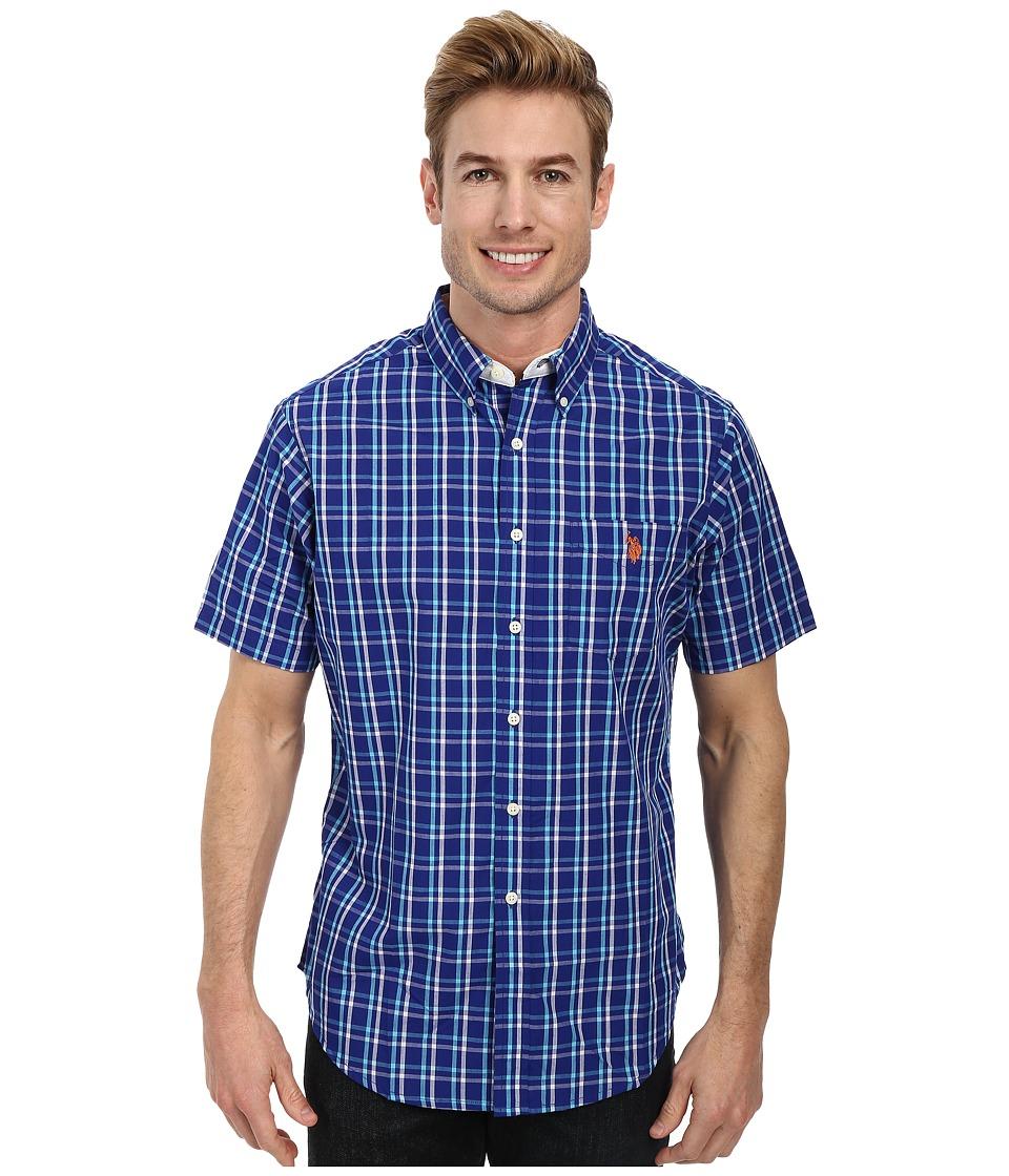 U.S. POLO ASSN. - Plaid Poplin Sport Shirt (International Blue) Men's Short Sleeve Button Up