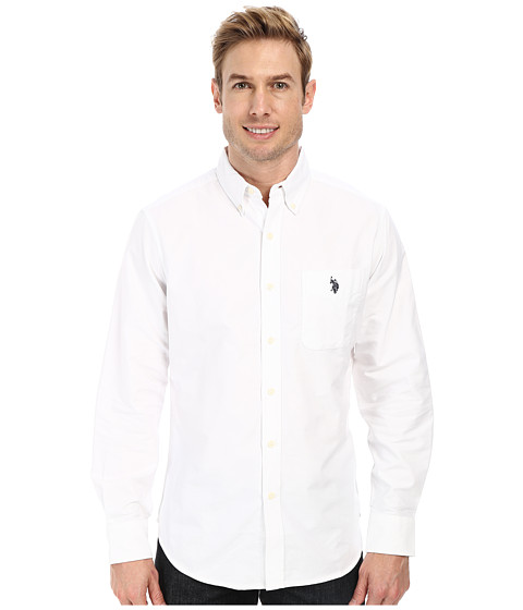 U.S. POLO ASSN. - Long Sleeve Solid Oxford Shirt (Optic White) Men