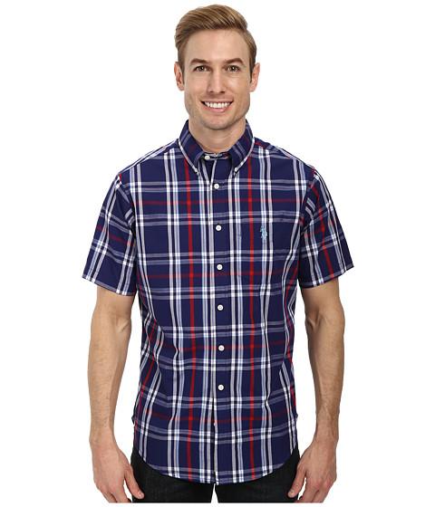 U.S. POLO ASSN. - Plaid Single Pocket Sport Shirt (Dodger Blue) Men's Short Sleeve Button Up