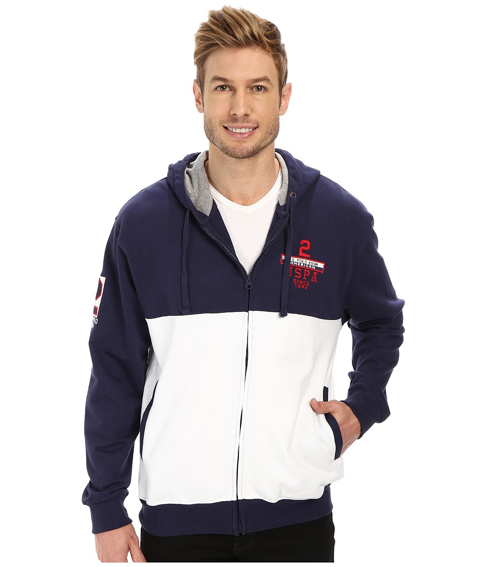 U.S. POLO ASSN. - French Terry Hooded Jacket (Classic Navy) Men's Coat