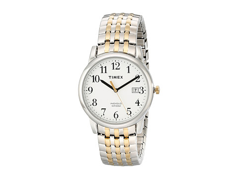 Timex - Easy Reader Expansion Band Dress Watch (Two-Tone/Silver-Tone/White) Watches