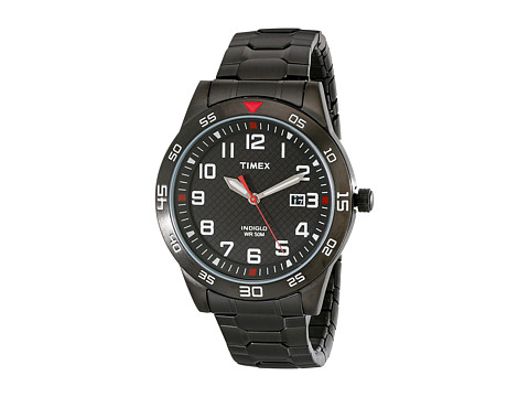 Timex - Stainless Steel Expansion Band Watch (Black) Watches
