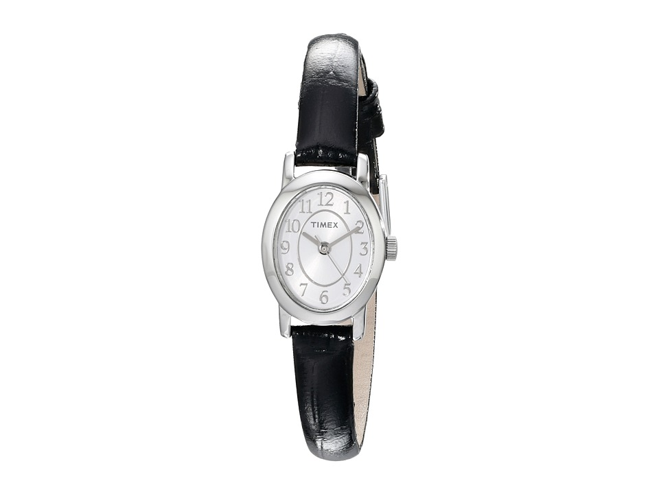 Timex - Cavatina Leather Strap Watch (Silver-Tone/Black) Watches
