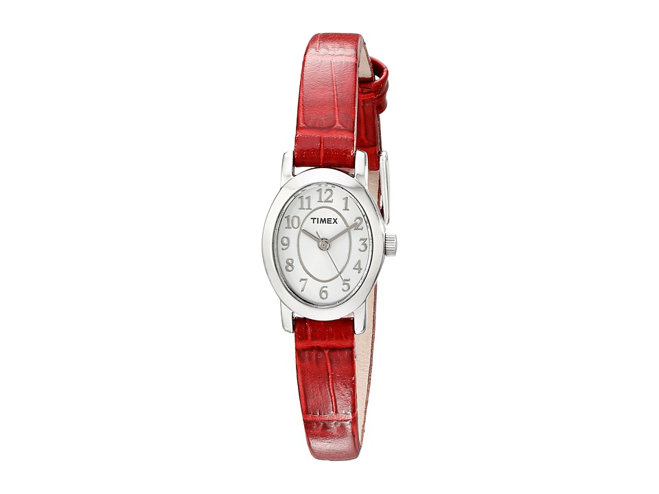 Timex - Cavatina Croco-Pattern Leather Strap Watch (Silver-Tone/Red) Watches