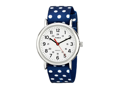 Timex - Weekender Full-Size Reversible Nylon Strap Watch (Navy/White/Silver-Tone) Watches