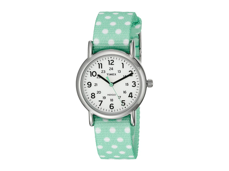 Timex - Weekender Reversible Nylon Strap Watch (Mint Green/Silver-Tone/White) Watches