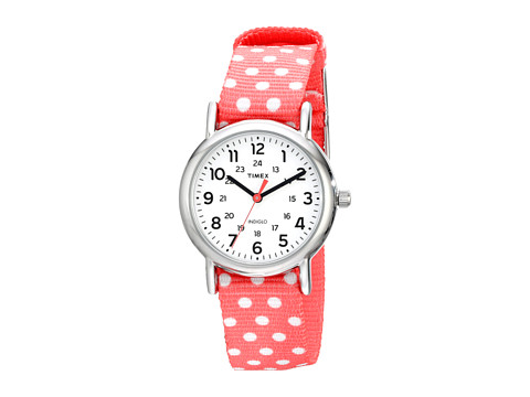 Timex - Weekender Reversible Nylon Strap Watch (Coral/Silver-Tone/White) Watches