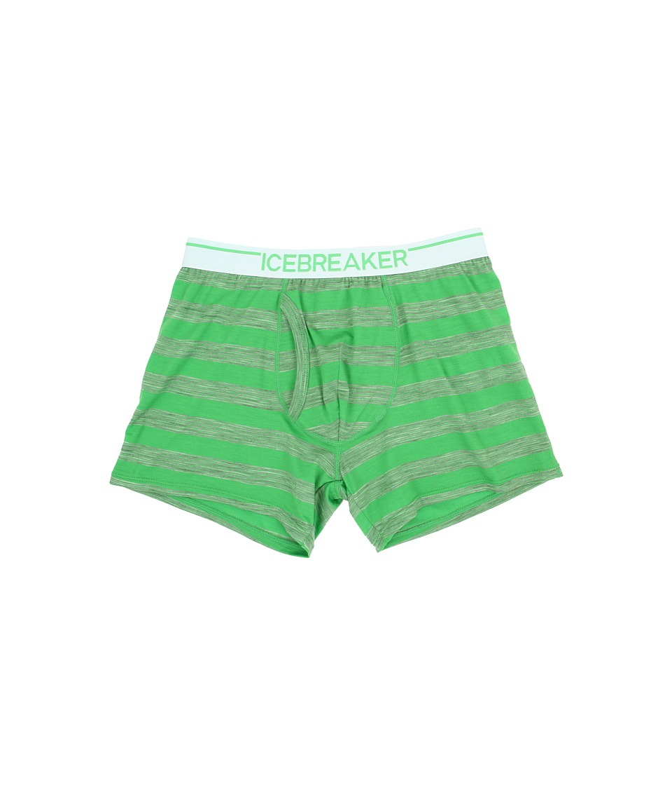 Icebreaker - Anatomica Boxers w/ Fly Stripe (Balsam/Metro Heather/White) Men's Underwear