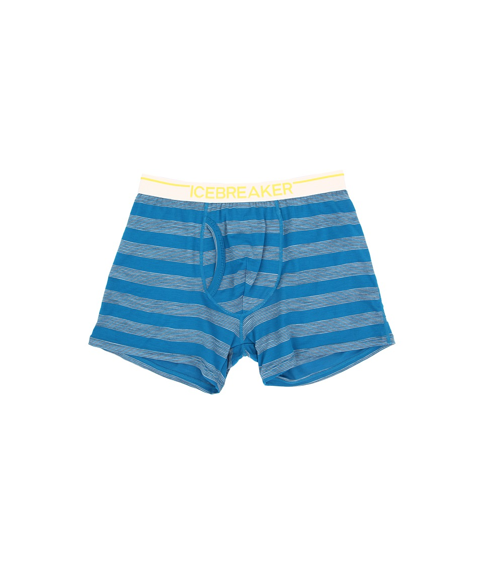 Icebreaker - Anatomica Boxers w/ Fly Stripe (Alpine/Metro Heather/White) Men's Underwear