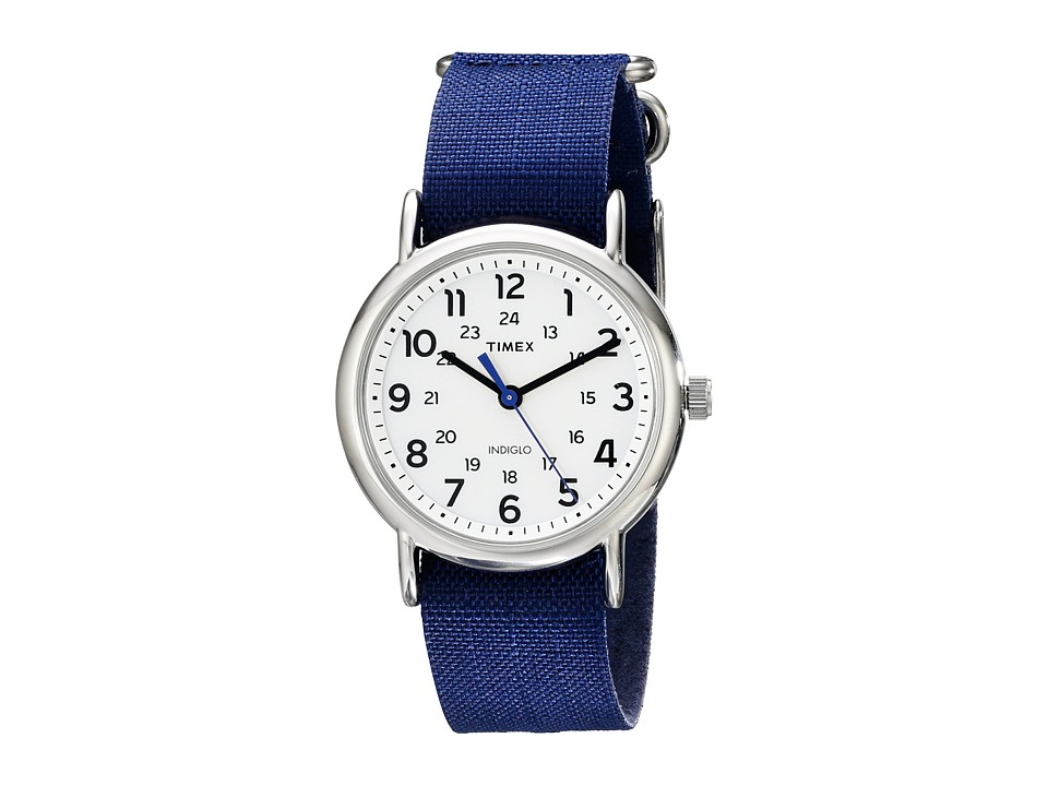 Timex - Weekender Slip-Thru Ripstop Nylon Strap Watch (Navy/Silver-Tone/White) Watches