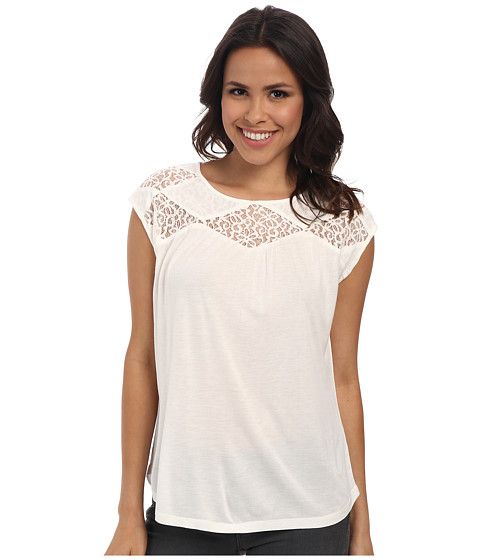 TWO by Vince Camuto - Floral Lace Yoke Crew Neck Top (New Ivory) Women's Clothing