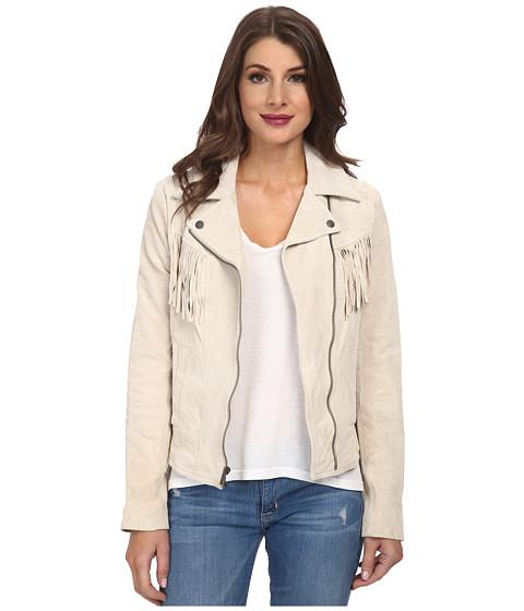 Jessica Simpson - Fringe Suede Moto Jacket (Stone) Women