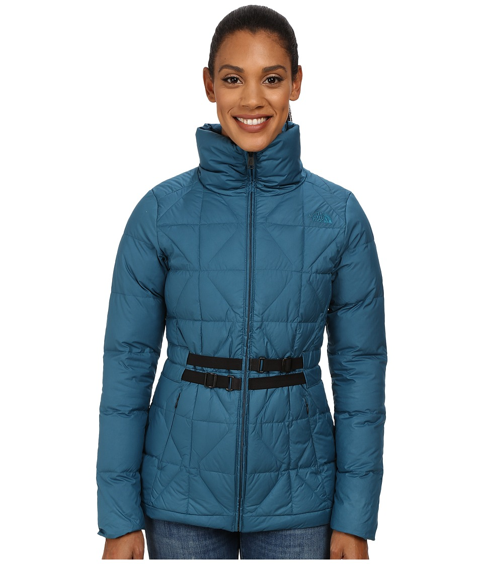 The North Face - Belted Mera Peak Jacket (Juniper Teal) Women's Coat
