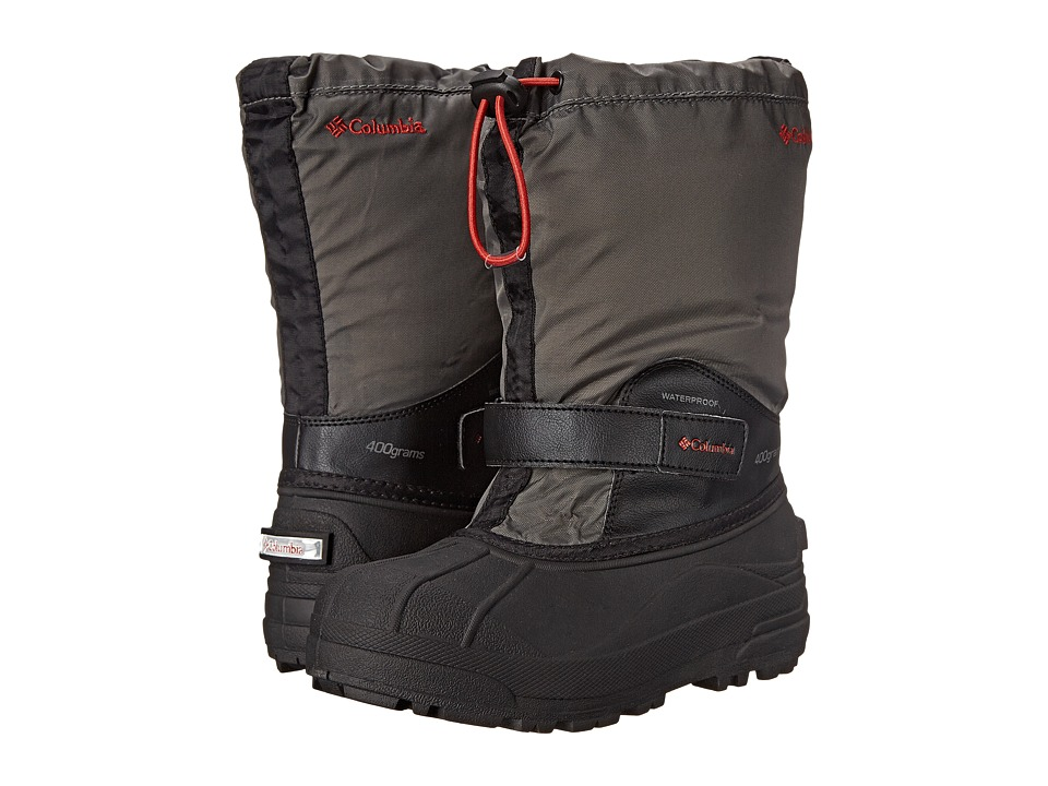 Columbia Kids Powderbugtm Forty Boot (Toddler/Little Kid/Big Kid) (Black/Sail Red) Boys Shoes