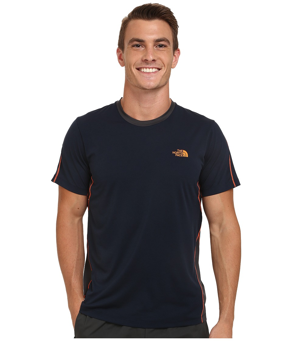 The North Face - Ampere Short Sleeve Crew Shirt (Cosmic Blue/Asphalt Grey) Men