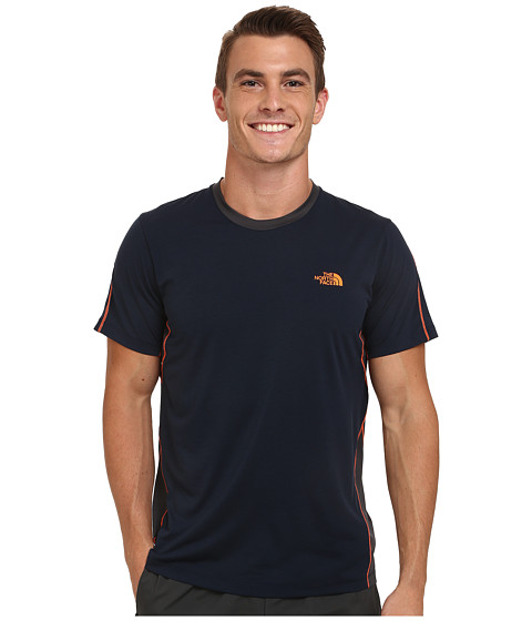 The North Face - Ampere Short Sleeve Crew Shirt (Cosmic Blue/Asphalt Grey) Men's T Shirt