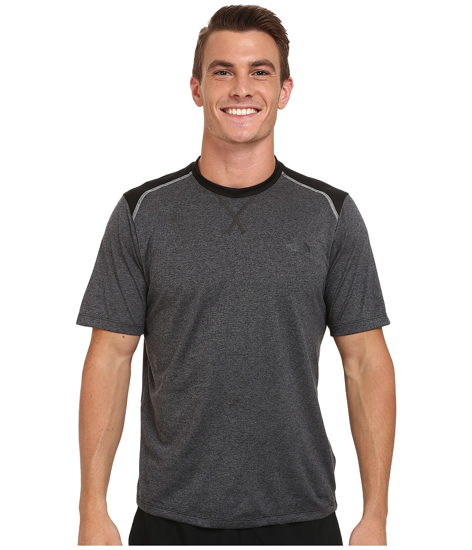 The North Face - Reactor Short Sleeve Crew Shirt (Asphalt Grey Heather/TNF Black) Men