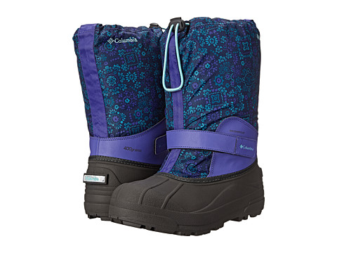 Columbia Kids - Powderbug Forty Print Boot (Toddler/Little Kid/Big Kid) (Purple Lotus/Gulf Stream) Girls Shoes