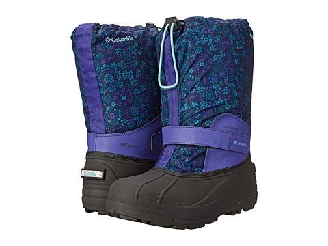 Columbia Kids - Powderbug Forty Print Boot (Toddler/Little Kid/Big Kid) (Purple Lotus/Gulf Stream) Girls Shoes