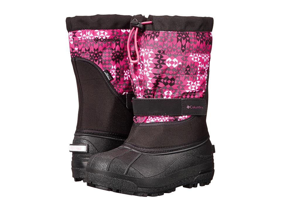 Columbia Kids - Powderbug Plus II Print Boot (Toddler/Little Kid/Big Kid) (Black/Bright Rose) Girls Shoes