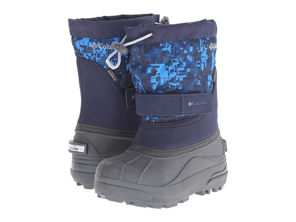Columbia Kids - Powderbug Plus II Print Boot (Toddler/Little Kid/Big Kid) (Collegiate Navy/Tradewinds Grey) Boys Shoes
