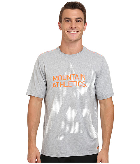 The North Face - Mountain Athletics Graphic Reaxion Amp Crew Shirt (Monument Grey Heather/Shocking Orange) Men's T Shirt
