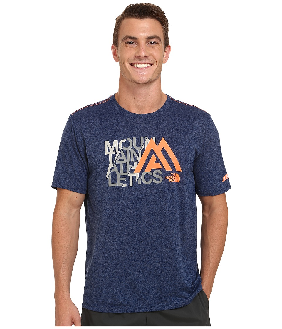 The North Face - Mountain Athletics Graphic Reaxion Amp Crew Shirt (Cosmic Blue Heather) Men's T Shirt
