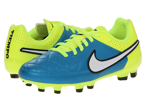 Nike Kids - Jr Tiempo Genio Leather Firm Ground Soccer (Toddler/Little Kid/Big Kid) (Blue/Lagoon/White) Kids Shoes