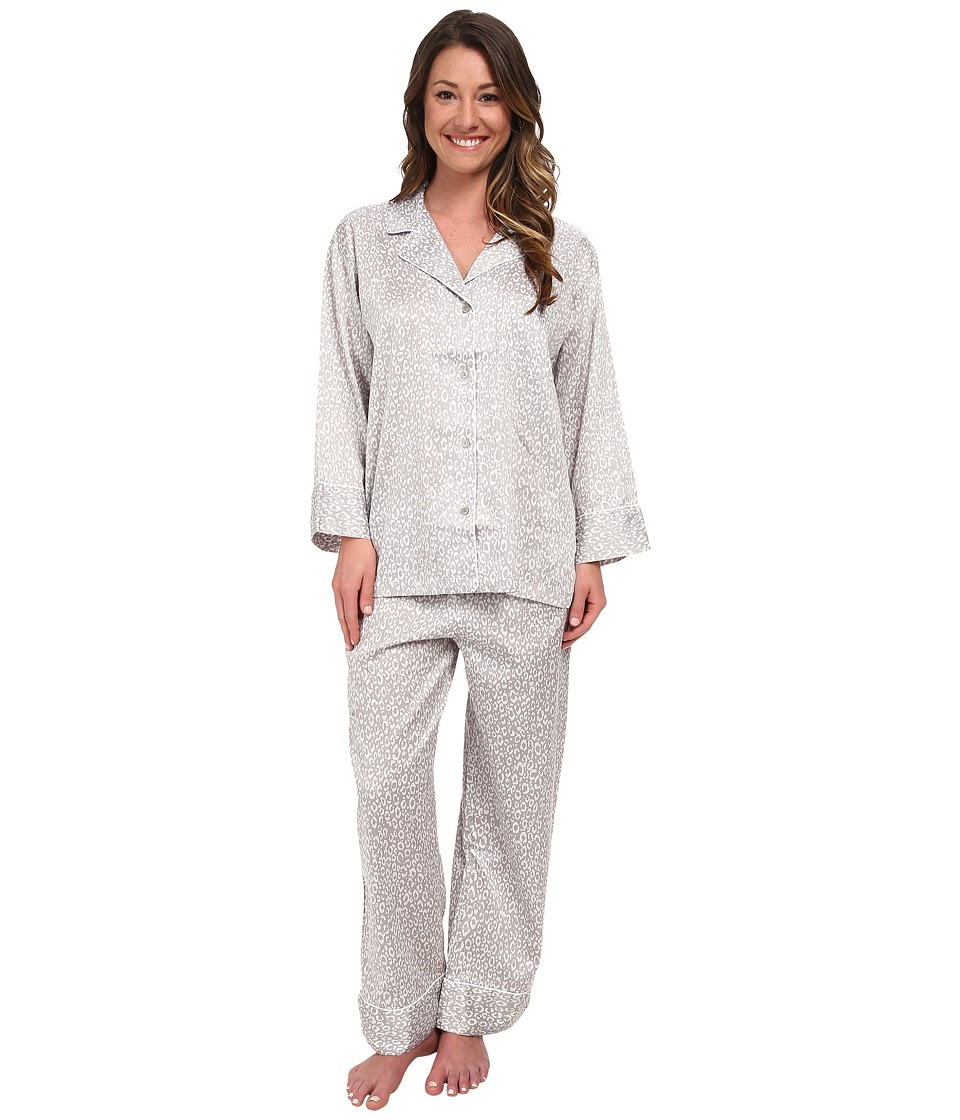 Natori - Leopard Long Sleeve Notch PJ (Grey) Women's Pajama Sets