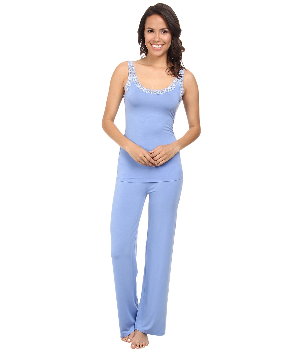 Natori - Feathers Tank PJ (Surf Blue) Women's Pajama Sets