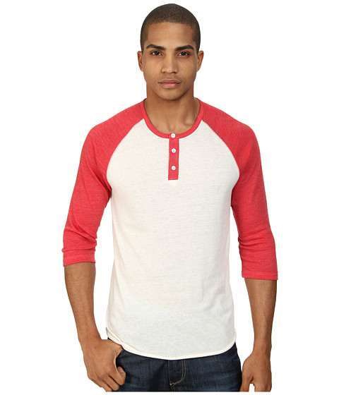 Alternative - 3/4 Raglan Henley (Eco True Engine Red) Men's Long Sleeve Pullover