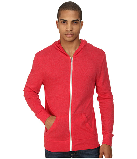 Alternative - L/S Zip Hoodie (Eco True Engine Red) Men