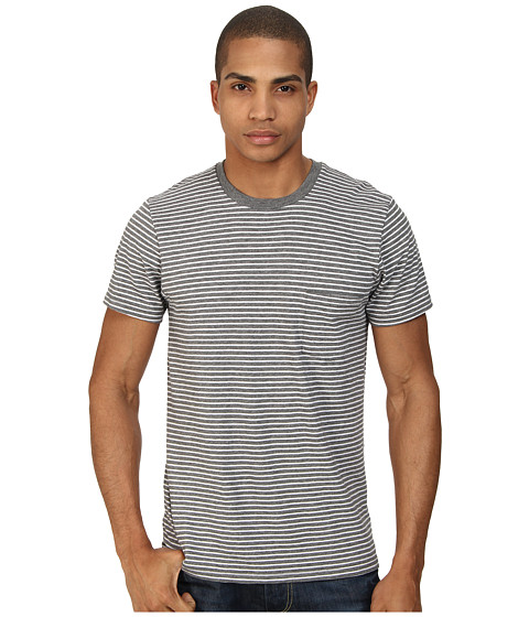 Alternative - Perfect Pocket Tee (Heather Grey London Stripe) Men's Short Sleeve Pullover