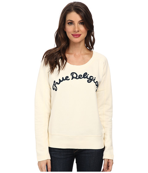 True Religion - TR Chainstitch Embroidered Sweatshirt (Winter White) Women's Sweatshirt
