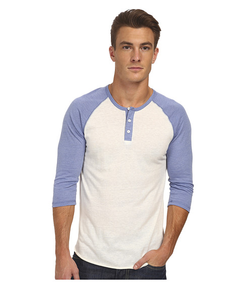 Alternative - 3/4 Raglan Henley (Eco True Dusk Blue) Men