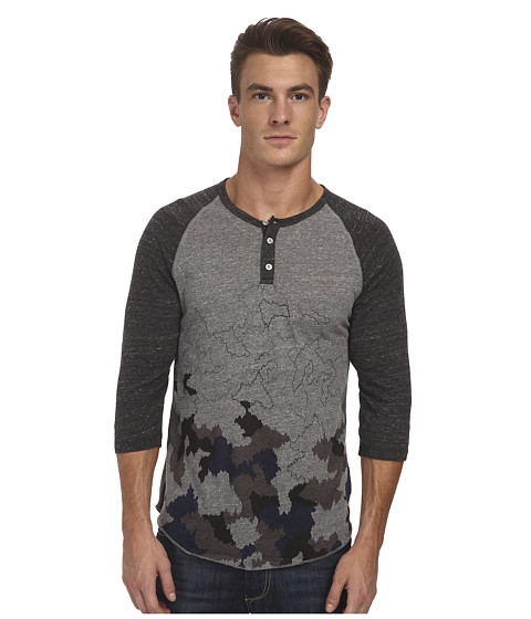 Alternative - Printed 3/4 Raglan Henley (Eco Grey Faded Camo) Men