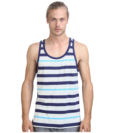Alternative - Cotton Modal Stripe Tank Top (Cambridge Blue Stripe) Men's Sleeveless