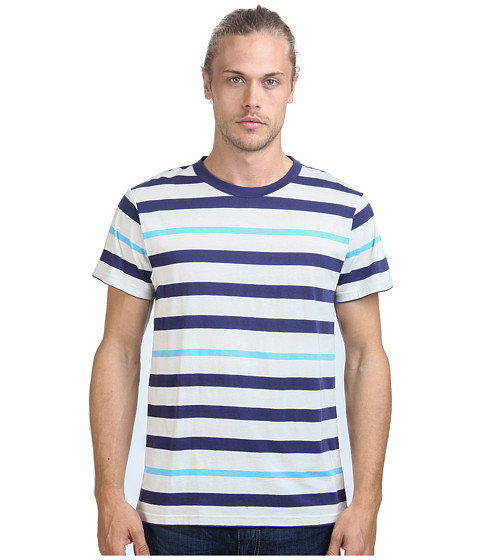 Alternative - Cotton Modal Stripe Crew (Cambridge Blue Stripe) Men's T Shirt