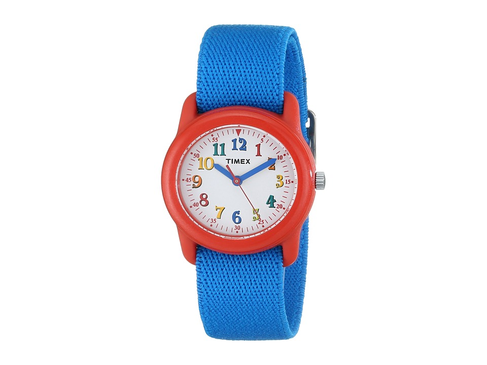 Timex - Analog Elastic Fabric Strap Watch (Youth) (Blue/Red/White) Watches