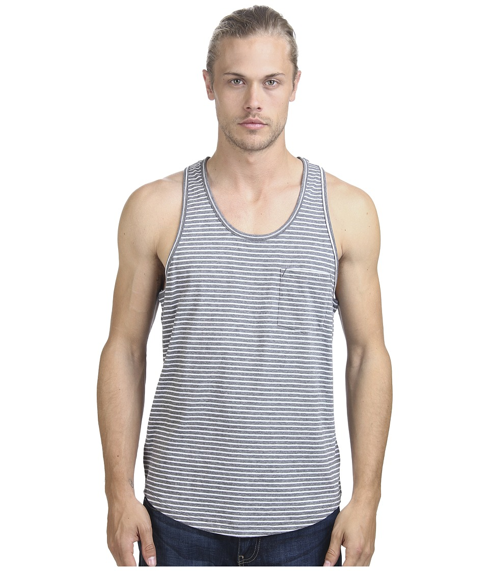 Alternative - Perfect Pocket Tank Top (Heather Grey London Stripe) Men's Sleeveless