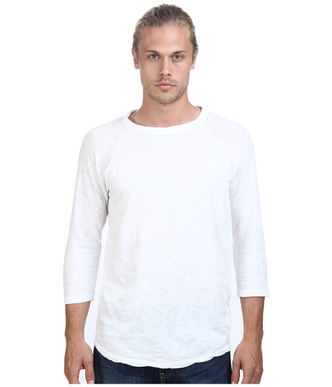 Alternative - Washed Out Slub Baseball Tee (Vintage White) Men's Long Sleeve Pullover